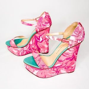 CHARLOTTE OLYMPIA Marble Pink Swirl Wedge Platform
